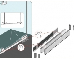 סף סגר מברשת לדלת זכוכית גימור STST